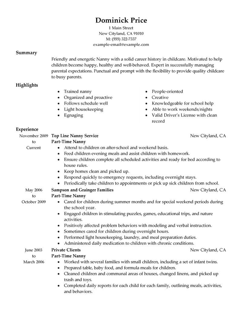 Best Part Time Nanny Resume Example LiveCareer  Nanny Resume Samples