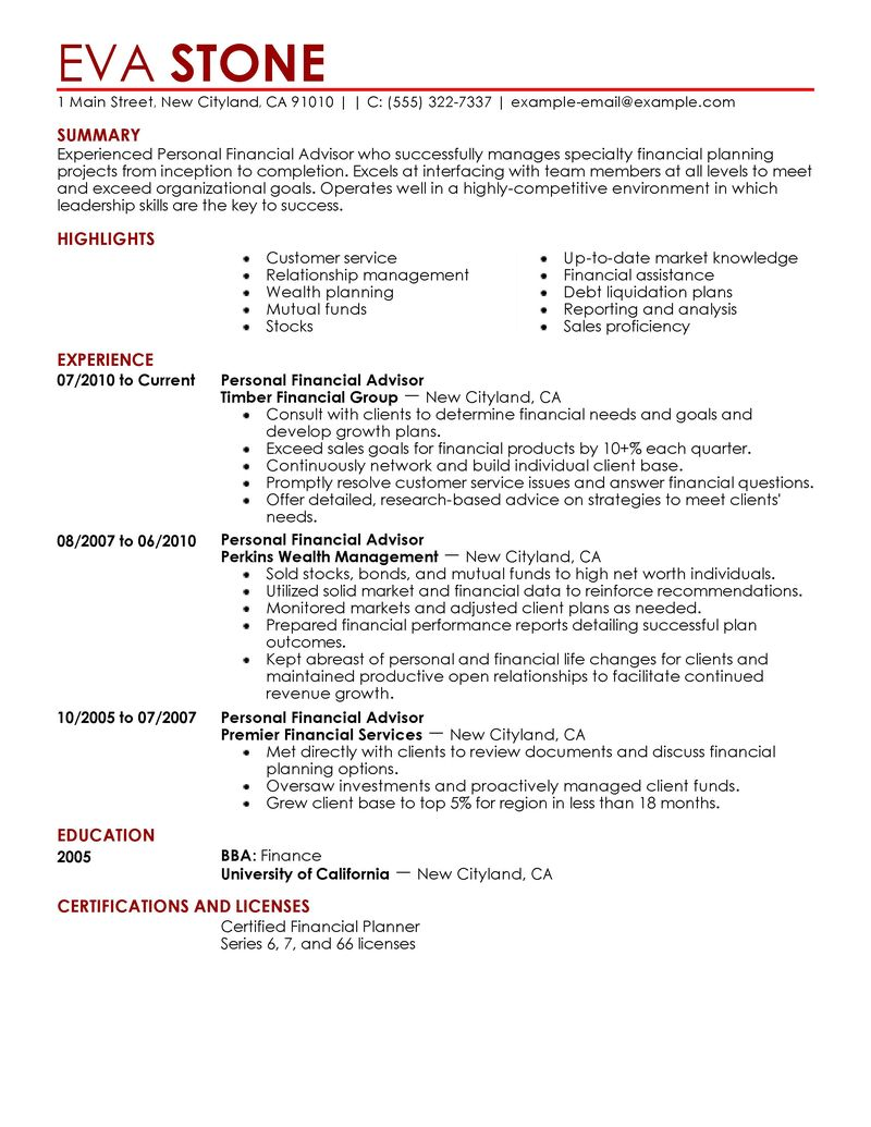 Financial advisor resume example examples of resumes best personal financial advisor resume example livecareer madrichimfo Gallery