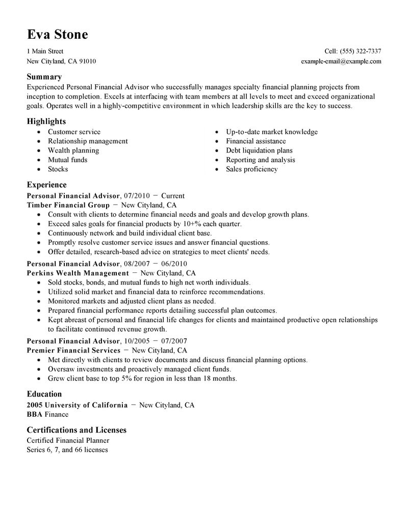 best personal financial advisor resume example livecareer - Financial Aid Counselor Resume