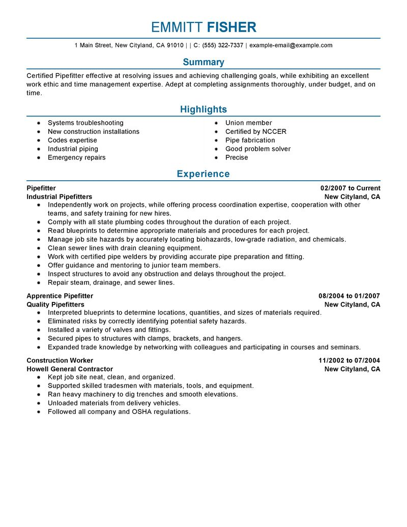 Pipefitter Resume Example  Construction Sample Resumes