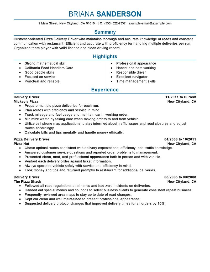 Pizza Delivery Drivers Resume Examples  Transportation Resume Samples  LiveCareer