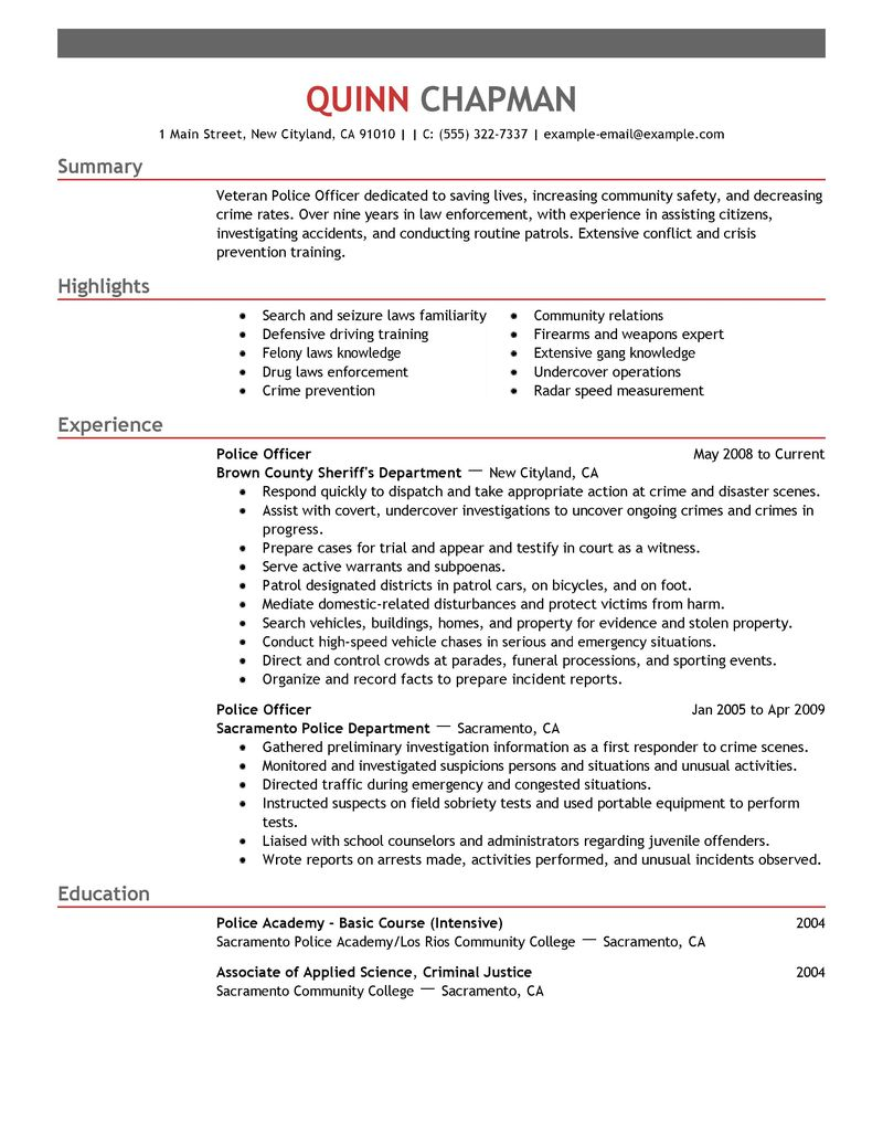 Best Police Officer Resume Example LiveCareer