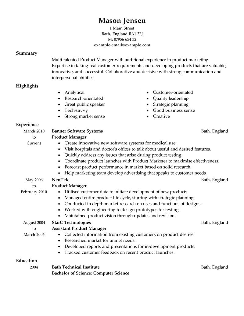 best product manager resume example livecareer - Product Line Manager Resume Sample