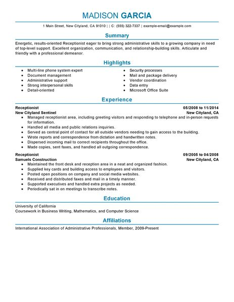 Best Receptionist Resume Example LiveCareer