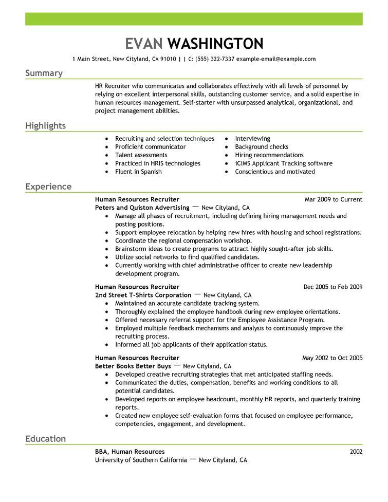 Employment resume examples
