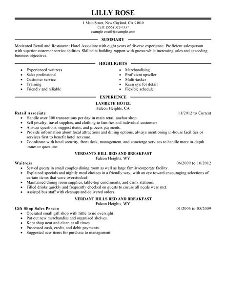 Best Retail And Restaurant Associate Resume Example