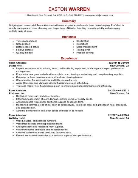 Best Room Attendant Resume Example LiveCareer