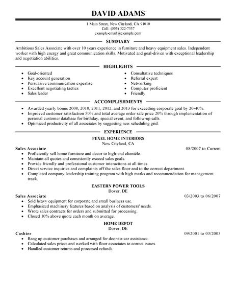 Simple Sales Associate Resume Example LiveCareer