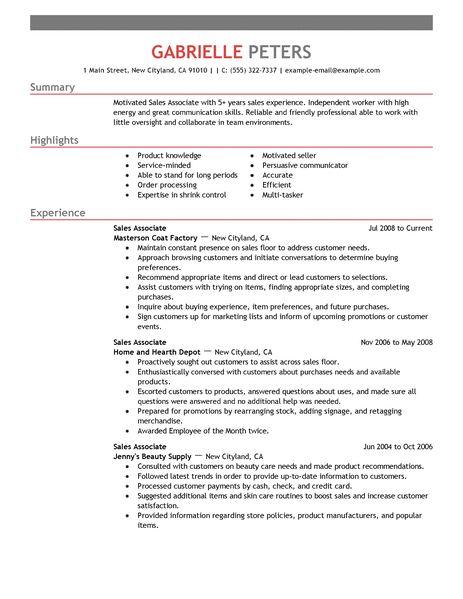 Best Sales Associate Resume Example LiveCareer