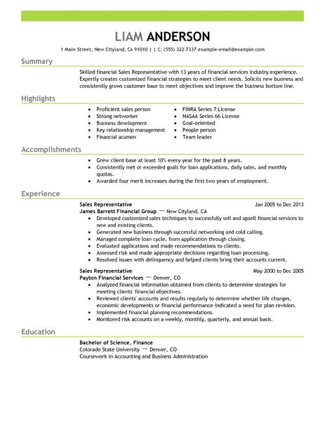 Best Sales Representative Resume Example LiveCareer  Resume Examples For Sales