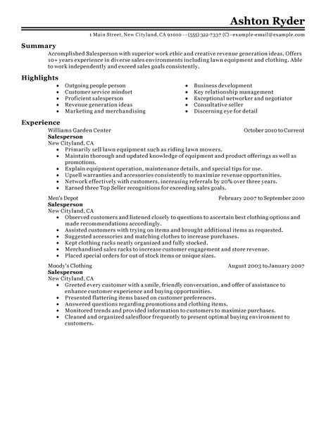 retail salesperson resume example