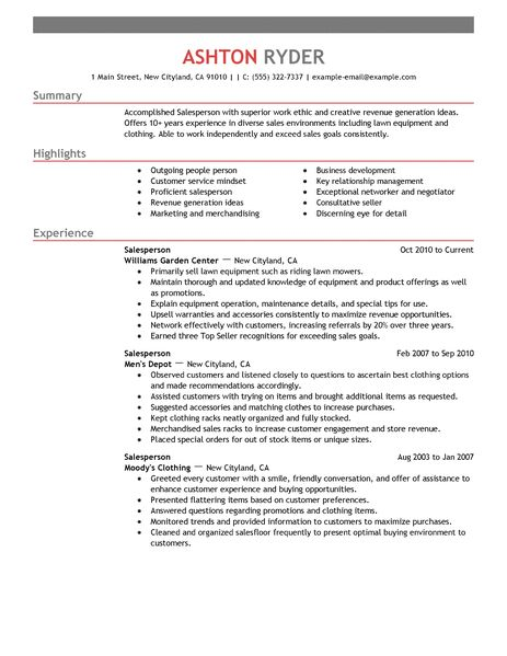 salesperson resume examples - Retail Resume Examples