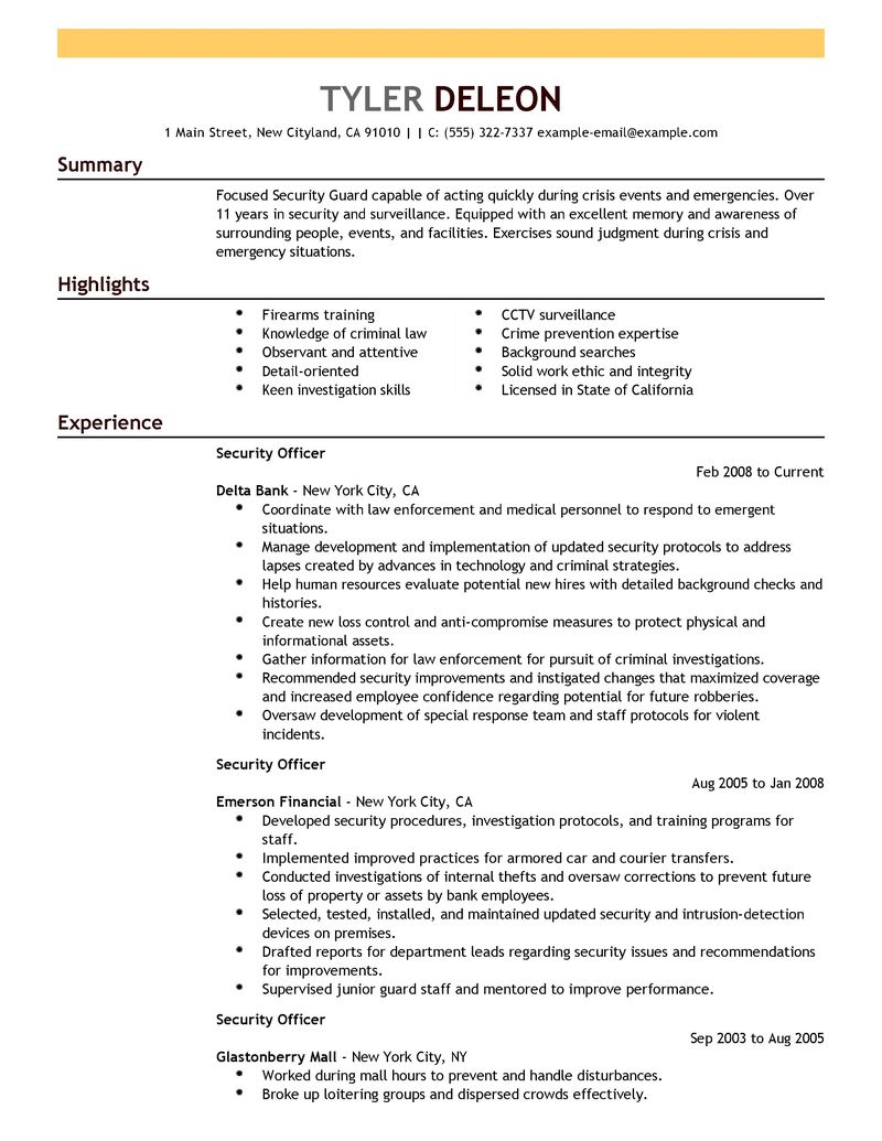 Best Security Officer Resume Example LiveCareer  Security Officer Resumes