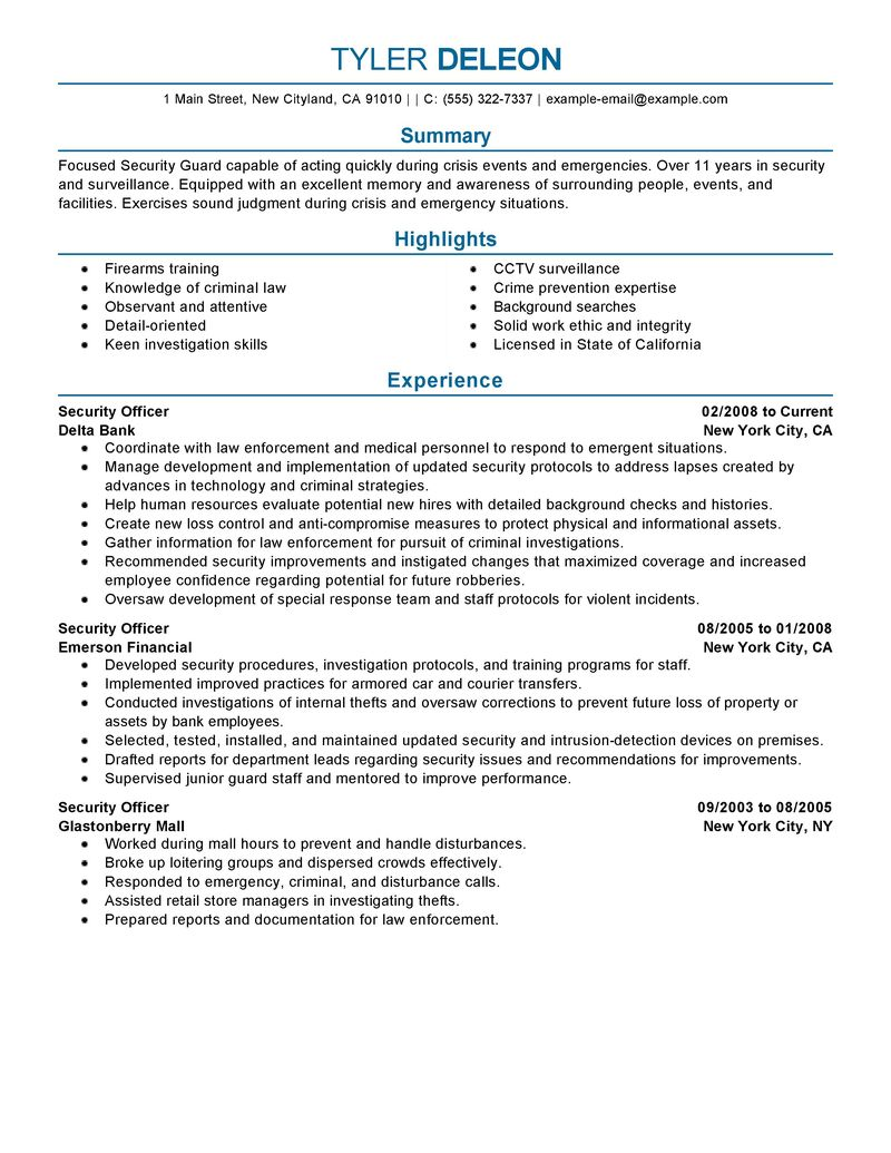 Security Job Resumes Examples - Examples of Resumes