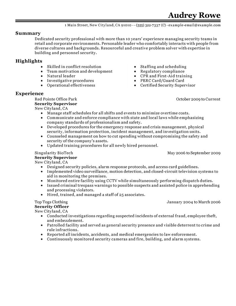 Best Security Supervisor Resume Example LiveCareer