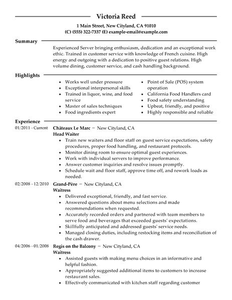 resume for restaurant servers