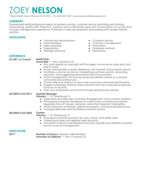 Shift Leader Trainee Resume Examples  Customer Service Resume Examples  LiveCareer