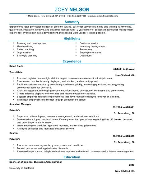Shift Leader Trainee Resume Examples  Customer Service