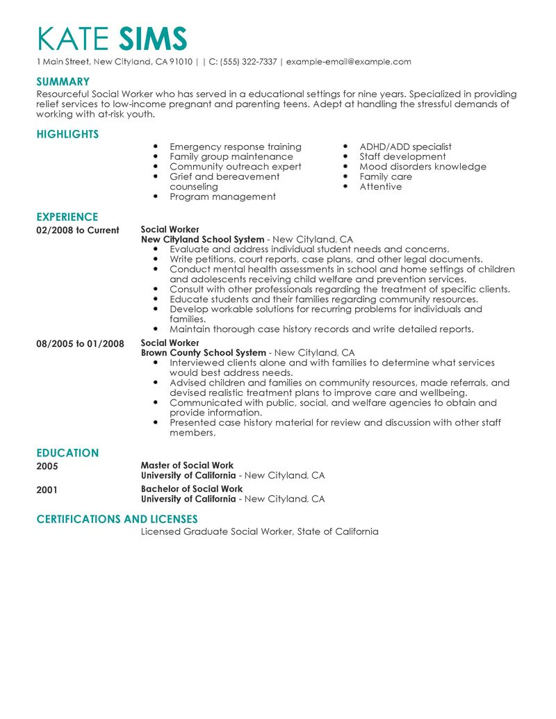 social work resume summary