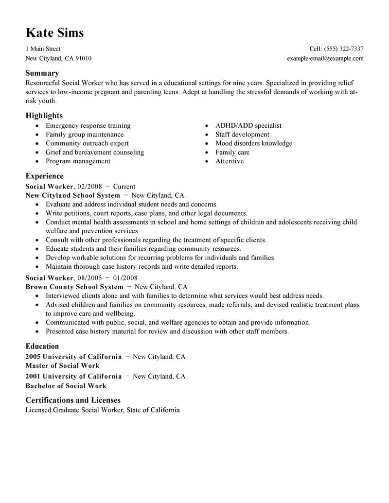 lcsw resume sample