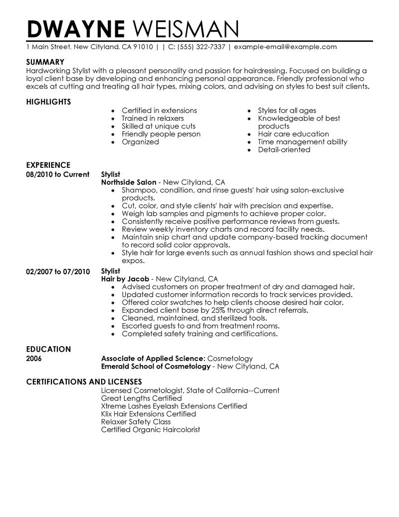 Best Stylist Resume Example LiveCareer