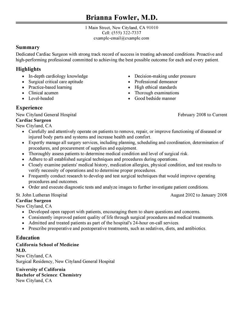 Surgeon Resume Examples  Healthcare Resume Samples  LiveCareer