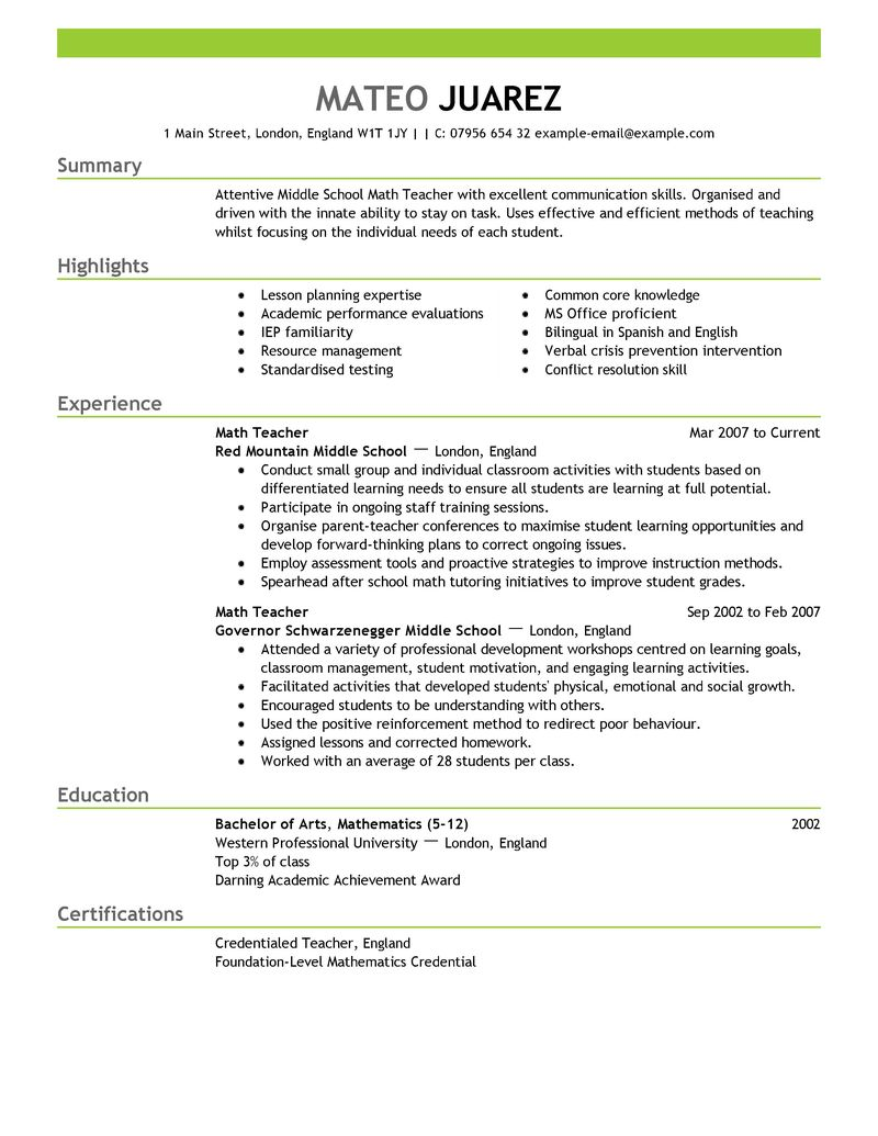 resume for teachers examples - Examples Of Resumes