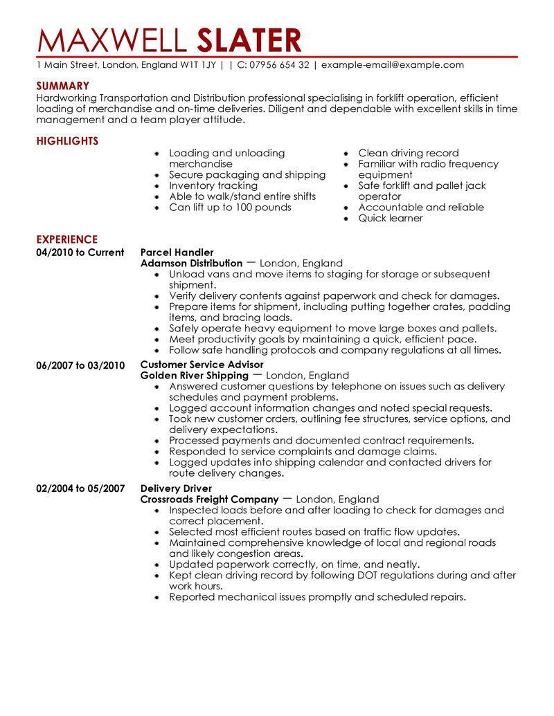 Transportation Resumes Examples Resume Sample Resume For Ojt Deck