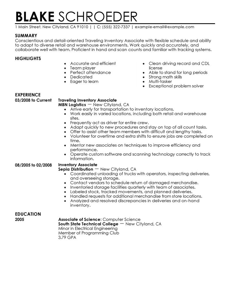 Best Traveling Inventory Associate Resume Example LiveCareer