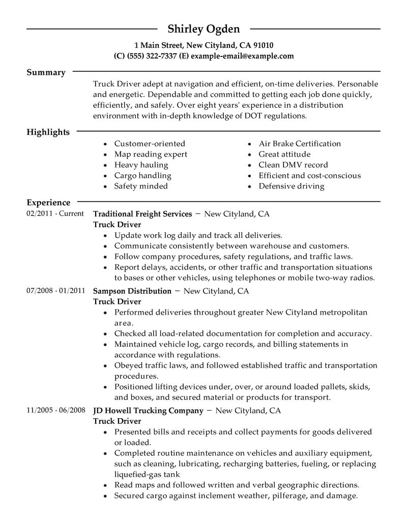 Trucking Resume Examples Examples of Resumes