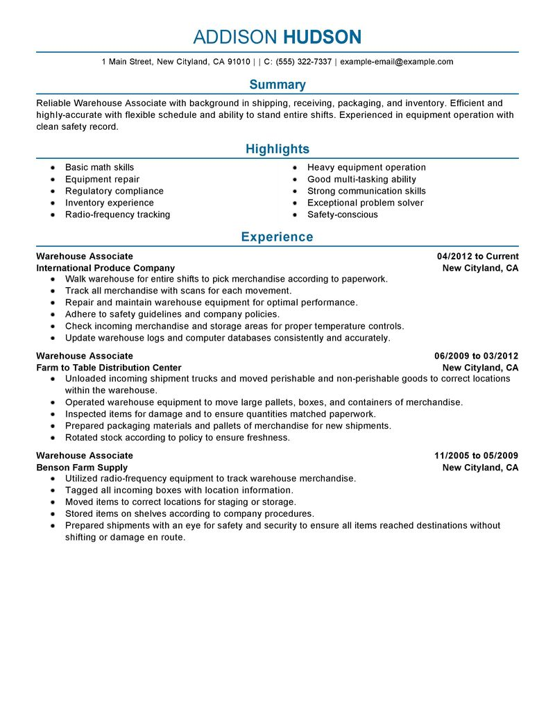 Best Warehouse Associate Resume Example LiveCareer  Resume For Warehouse Manager