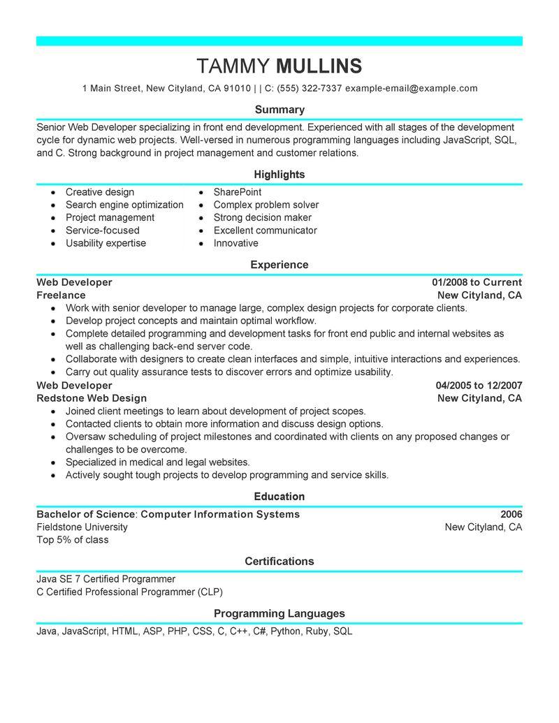 php developer resume sample canada