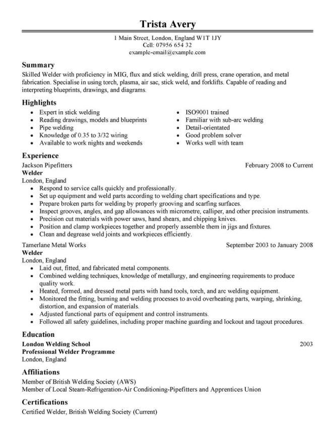 welder resume template resume sample