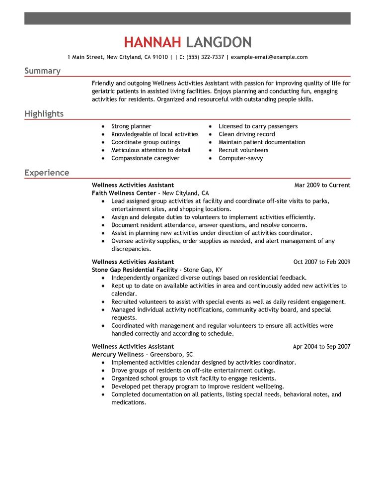 Activities Resume Examples - Examples of Resumes