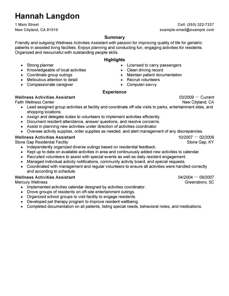 Resume Activities Example - Examples of Resumes
