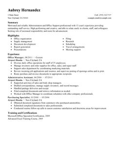 Resume Examples For Administration