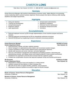 Human Resources Manager Resume Examples Human Resources