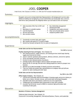 Inside Sales Resume Examples Maintenance & Janitorial
