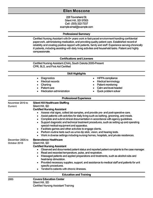 Best Certified Nursing Assistant Resume Example LiveCareer