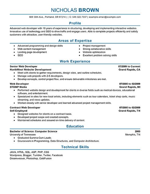 developer resume skills section