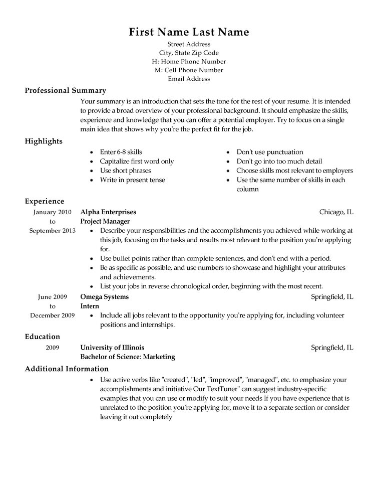 Resume Example Template Free Resume Templates Fast Easy