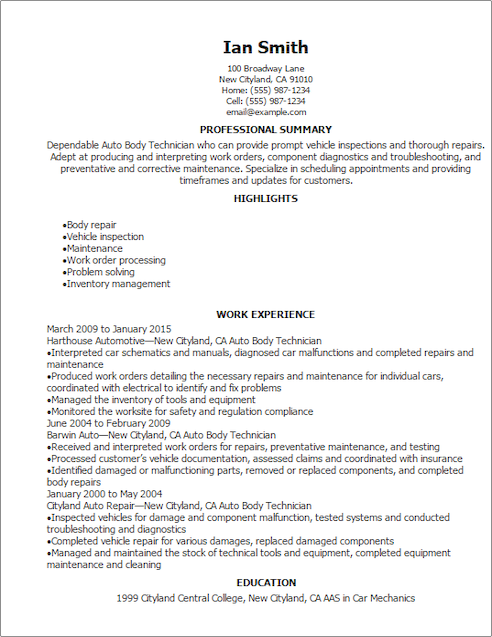 Auto Body Technician Cover Letter Sample  motorcycle mechanic cover letter sample
