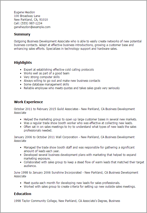 Business Resume Formats Business Resume Example Business