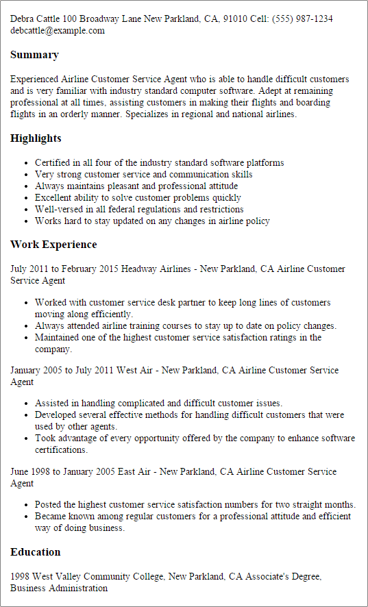 resume example for a customer service job