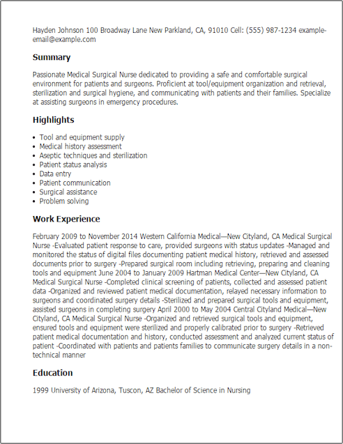 sample rn resume returning to work after a long absence