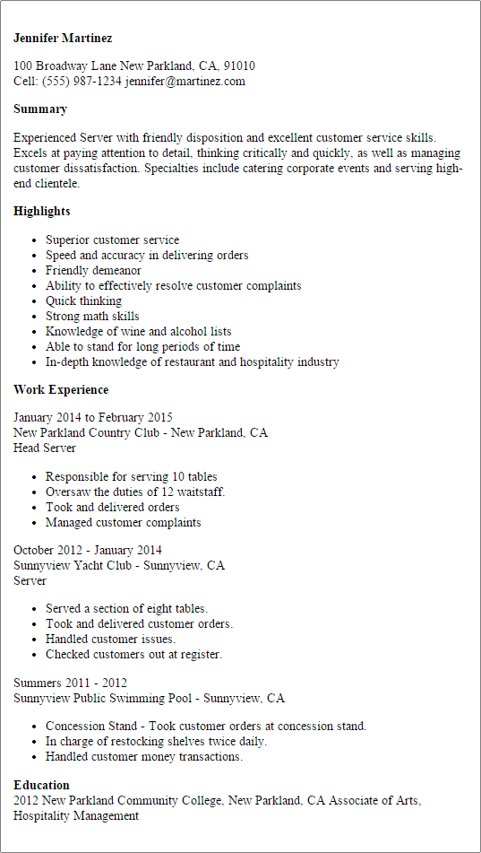 bar server resume sample