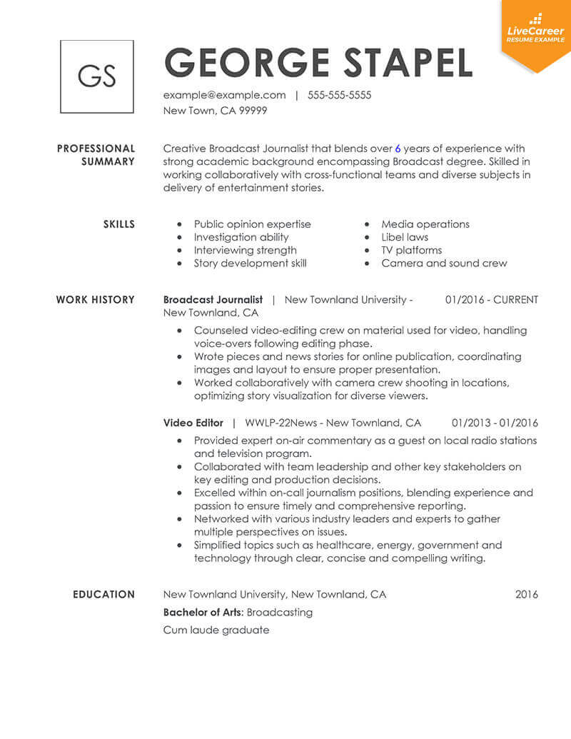proper layout for resume