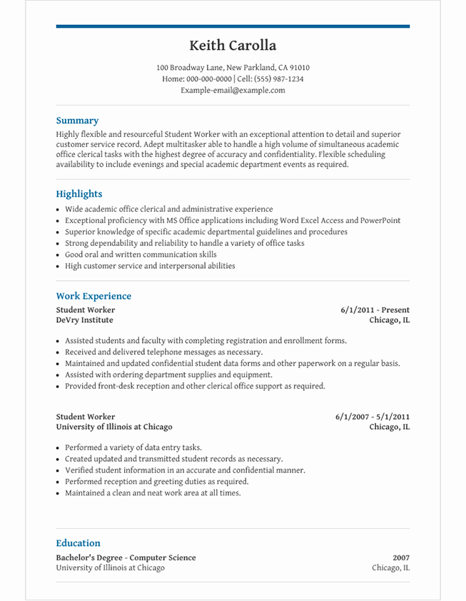 High School Student Resume Template For