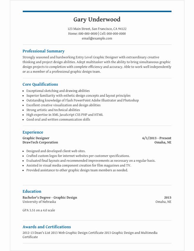 graphic design resume summary statement