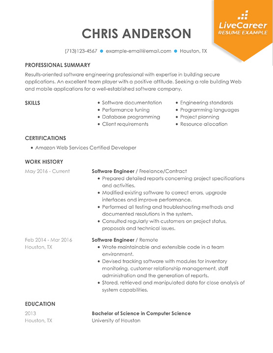 example resume with programming experience